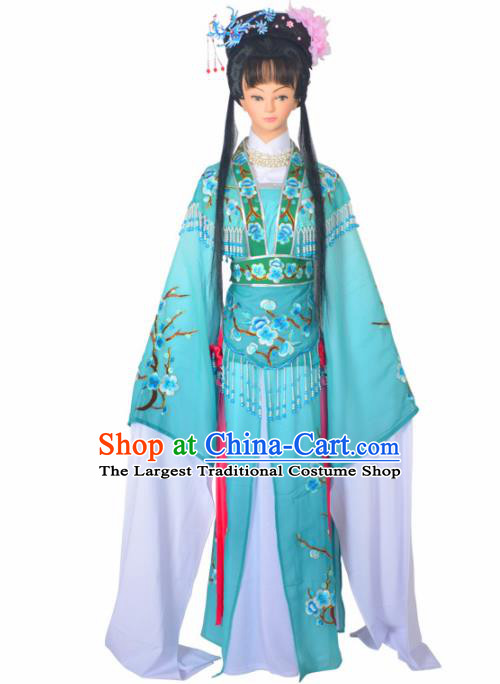 Traditional Chinese Peking Opera Imperial Consort Costumes Ancient Palace Lady Blue Dress for Adults