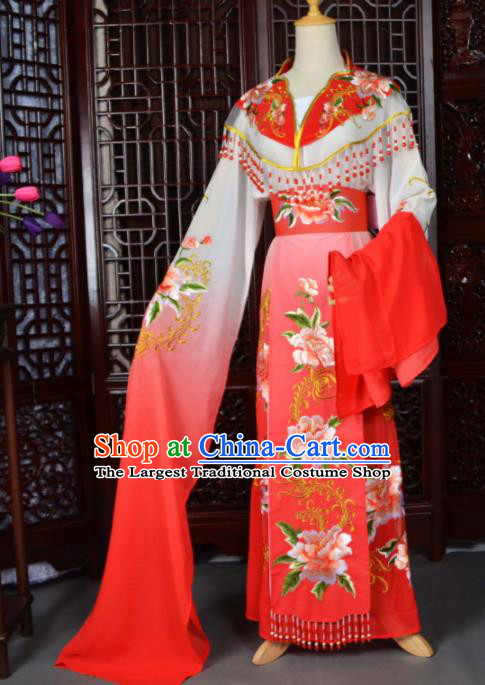 Traditional Chinese Peking Opera Palace Lady Costumes Ancient Imperial Consort Red Dress for Adults