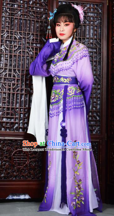 Traditional Chinese Peking Opera Palace Princess Costumes Ancient Peri Purple Dress for Adults