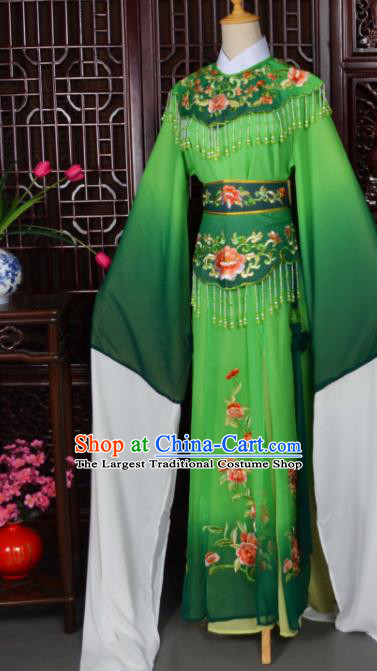 Traditional Chinese Peking Opera Palace Princess Costumes Ancient Peri Green Dress for Adults