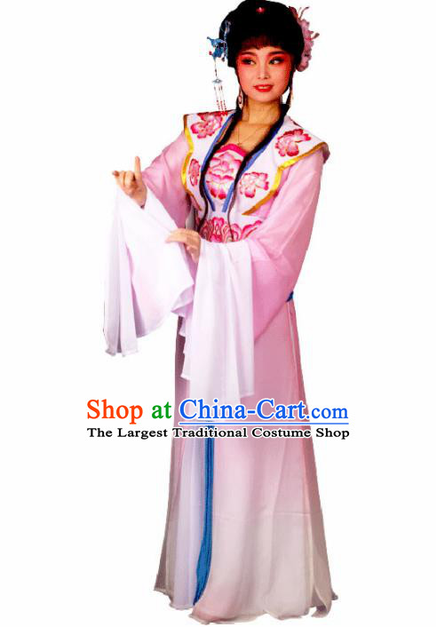 Traditional Chinese Peking Opera Princess Embroidered Costumes Ancient Peri Pink Dress for Adults