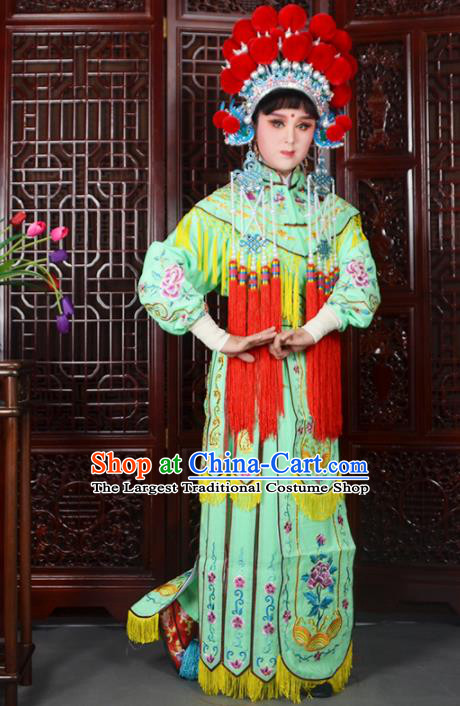 Traditional Chinese Peking Opera Blues Costumes Ancient Female General Green Dress and Hat for Adults