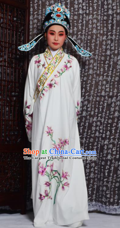 Professional Chinese Peking Opera Niche Costumes Embroidered Magnolia White Robe for Adults