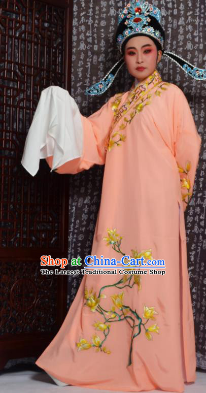 Professional Chinese Peking Opera Niche Costumes Embroidered Magnolia Orange Robe for Adults