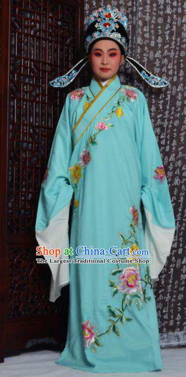 Professional Chinese Peking Opera Niche Costumes Embroidered Peony Light Blue Robe for Adults