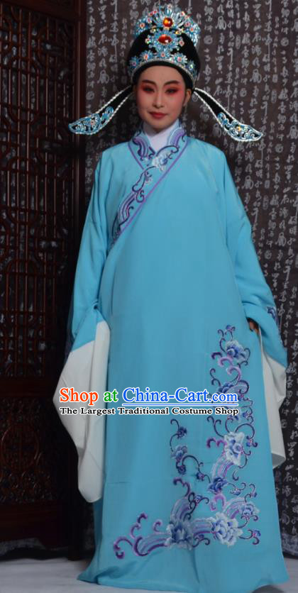 Professional Chinese Peking Opera Niche Costumes Embroidered Blue Robe for Adults
