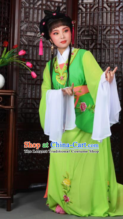 Traditional Chinese Peking Opera Young Lady Costumes Ancient Maidservants Green Dress for Adults