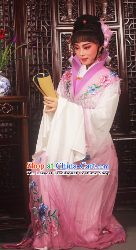 Traditional Chinese Peking Opera Palace Lady Costumes Ancient Imperial Concubine Embroidered Lilac Dress for Adults
