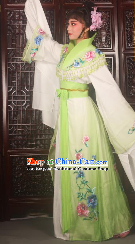 Traditional Chinese Peking Opera Palace Lady Costumes Ancient Imperial Concubine Embroidered Green Dress for Adults