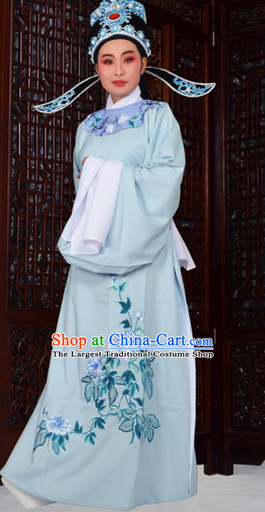 Professional Chinese Peking Opera Niche Costumes Ancient Gifted Scholar Embroidered Chrysanthemum Blue Robe for Adults