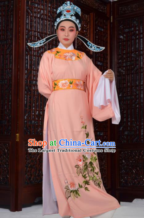 Professional Chinese Peking Opera Niche Costumes Ancient Gifted Scholar Embroidered Chrysanthemum Orange Robe for Adults