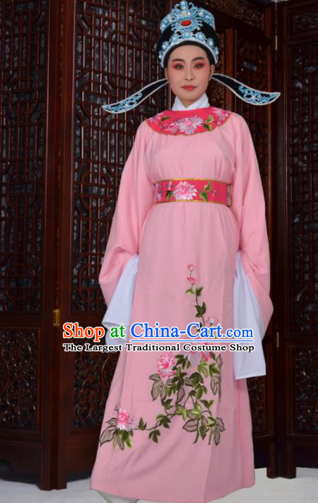 Professional Chinese Peking Opera Niche Costumes Ancient Gifted Scholar Embroidered Chrysanthemum Pink Robe for Adults