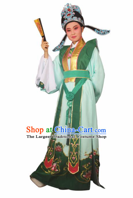 Professional Chinese Peking Opera Niche Costumes Ancient Childe Embroidered Green Clothing for Adults
