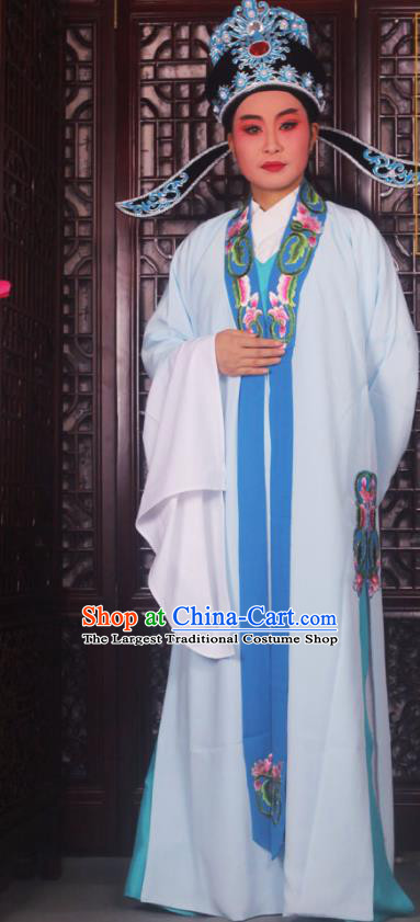 Professional Chinese Peking Opera Niche Costumes Ancient Scholar Blue Clothing and Hat for Adults