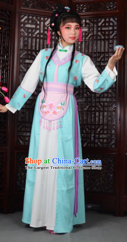 Chinese Ancient Maidservants Embroidered Green Dress Traditional Peking Opera Actress Costumes for Adults