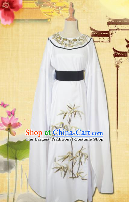 Professional Chinese Peking Opera Niche Costumes Ancient Scholar White Clothing for Adults