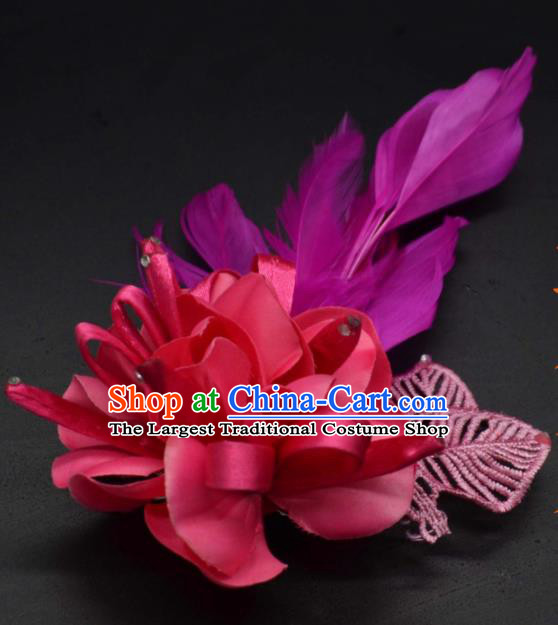 Traditional Chinese Peking Opera Diva Hair Accessories Ancient Princess Purple Feather Hair Stick Headwear for Women