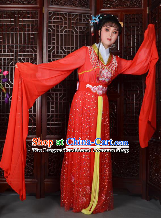 Chinese Ancient Peri Princess Embroidered Red Dress Traditional Peking Opera Actress Costumes for Adults