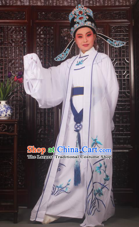 Professional Chinese Peking Opera Niche Costumes Embroidered Orchid White Clothing for Adults