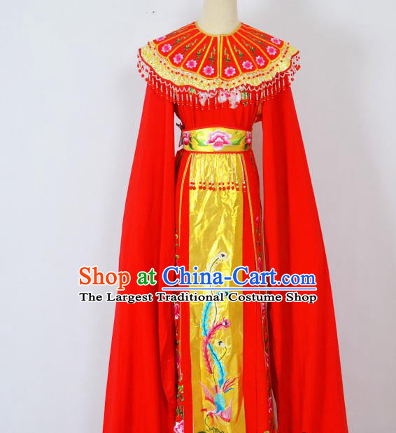 Chinese Ancient Palace Princess Embroidered Red Dress Traditional Peking Opera Actress Costumes for Adults