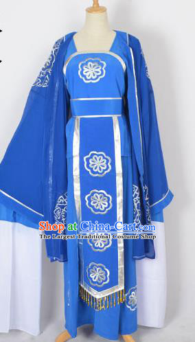 Chinese Ancient Embroidered Blue Dress Traditional Peking Opera Pantaloon Costumes for Adults