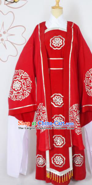 Chinese Ancient Embroidered Red Dress Traditional Peking Opera Pantaloon Costumes for Adults