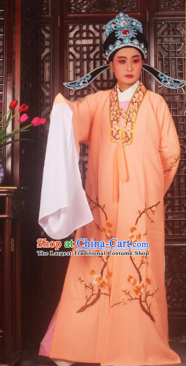 Top Grade Chinese Beijing Opera Costumes Peking Opera Niche Embroidered Orange Robe for Adults