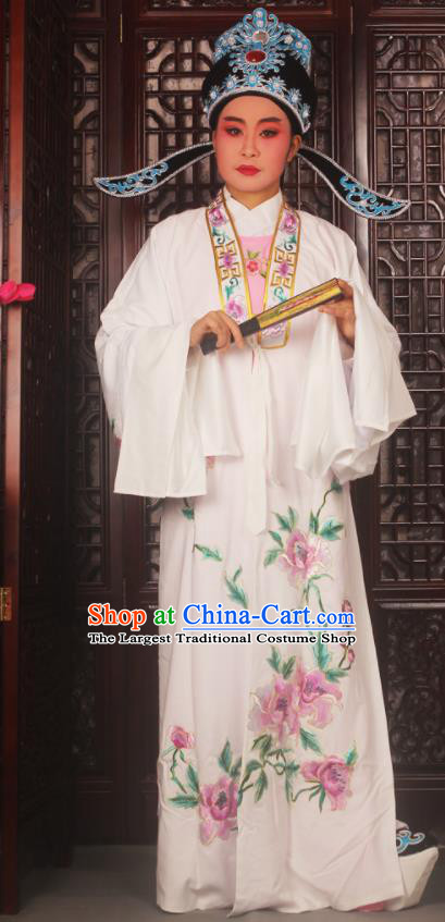 Top Grade Chinese Beijing Opera Scholar Costumes Peking Opera Niche Embroidered White Clothing for Adults