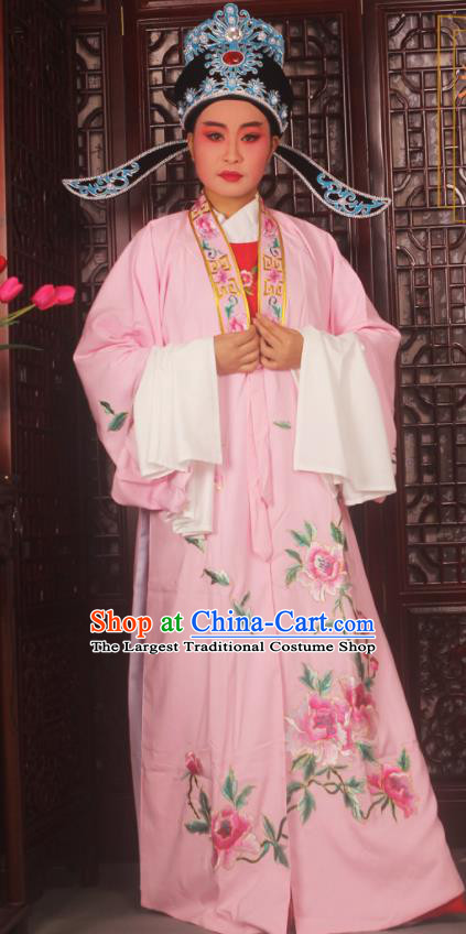 Top Grade Chinese Beijing Opera Scholar Costumes Peking Opera Niche Embroidered Pink Clothing for Adults