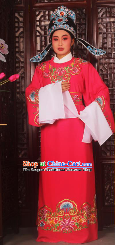 Top Grade Chinese Beijing Opera Niche Rosy Costumes Peking Opera Scholar Embroidered Clothing for Adults
