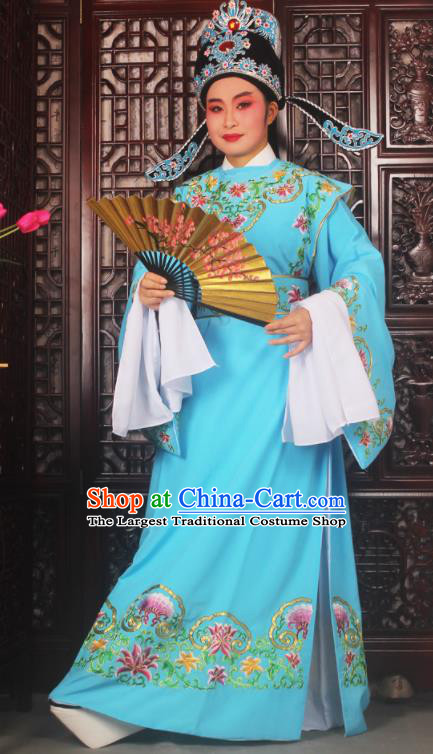 Top Grade Chinese Beijing Opera Niche Blue Costumes Peking Opera Scholar Embroidered Clothing for Adults