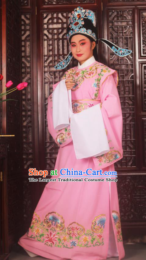 Top Grade Chinese Beijing Opera Niche Pink Costumes Peking Opera Scholar Embroidered Clothing for Adults