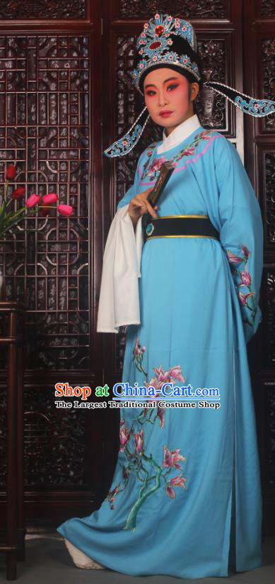 Top Grade Chinese Beijing Opera Niche Blue Costumes Peking Opera Embroidered Magnolia Clothing for Adults