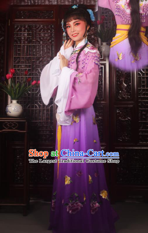 Traditional Chinese Peking Opera Diva Costumes Ancient Palace Princess Purple Embroidered Dress for Adults