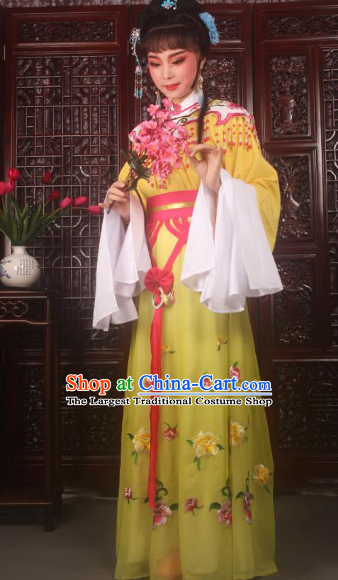 Traditional Chinese Peking Opera Diva Costumes Ancient Palace Princess Yellow Embroidered Dress for Adults