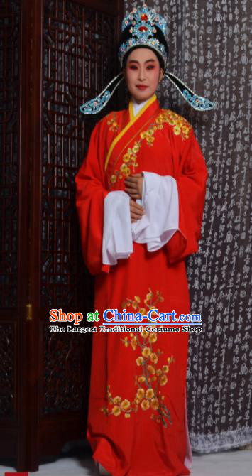 Top Grade Chinese Peking Opera Niche Costumes Embroidered Red Robe for Adults