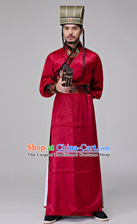 Chinese Traditional Han Dynasty Minister Costumes Ancient Drama Swordsman Red Clothing for Men