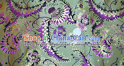 Traditional Chinese Royal Palace Pattern Design Green Brocade Fabric Silk Fabric Chinese Fabric Asian Material