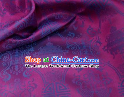 Traditional Chinese Royal Palace Double Fishes Pattern Design Purple Brocade Fabric Silk Fabric Chinese Fabric Asian Material