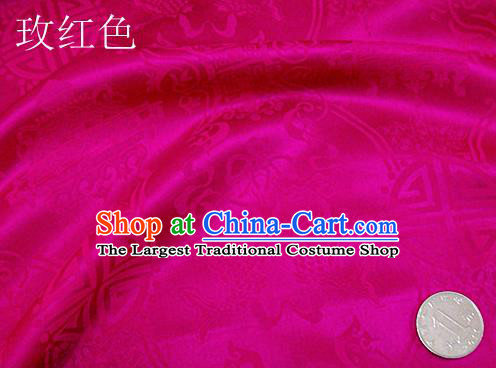 Traditional Chinese Royal Palace Double Fishes Pattern Design Rosy Brocade Fabric Silk Fabric Chinese Fabric Asian Material