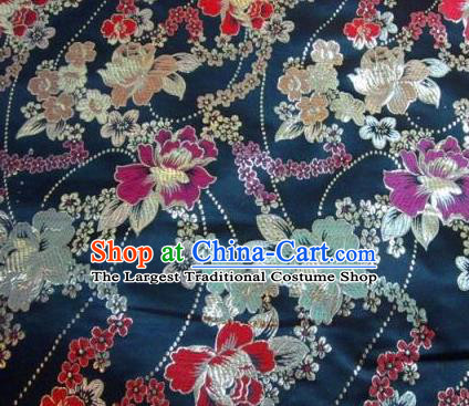 Traditional Chinese Navy Brocade Tang Suit Royal Peony Pattern Fabric Silk Fabric Asian Material