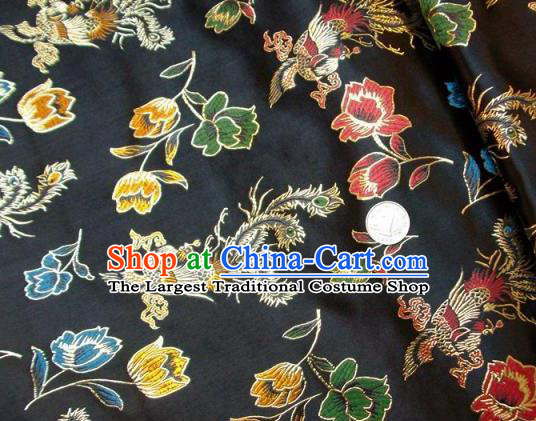 Traditional Chinese Royal Phoenix Peony Pattern Black Brocade Tang Suit Fabric Silk Fabric Asian Material