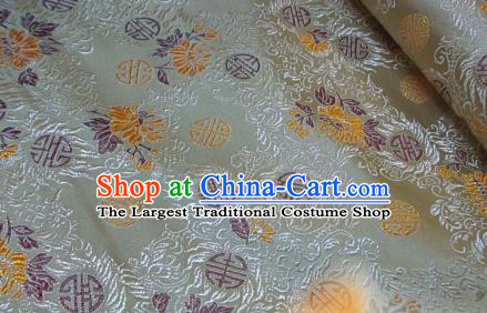 Traditional Chinese Royal Pattern Light Golden Brocade Tang Suit Fabric Silk Fabric Asian Material