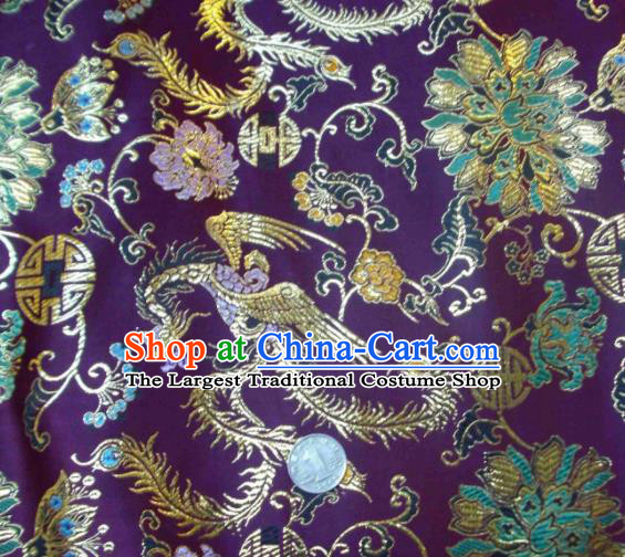 Traditional Chinese Royal Phoenix Pattern Purple Brocade Tang Suit Fabric Silk Fabric Asian Material
