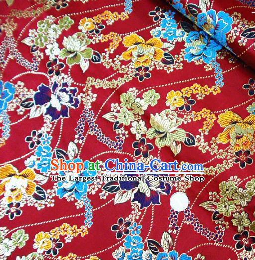 Traditional Chinese Royal Peony Pattern Red Brocade Tang Suit Fabric Silk Fabric Asian Material