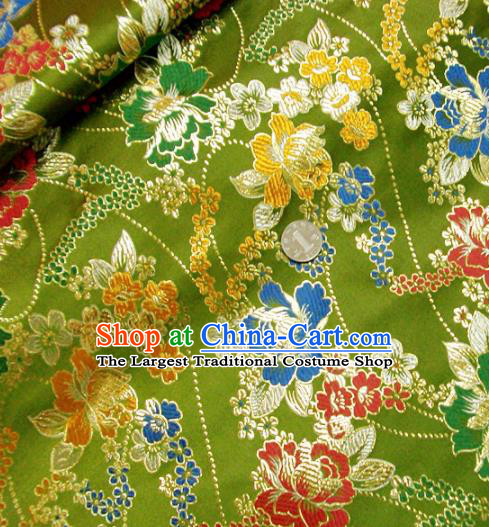 Traditional Chinese Royal Peony Pattern Olive Green Brocade Tang Suit Fabric Silk Fabric Asian Material