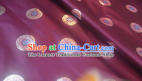 Traditional Chinese Royal Coins Pattern Purple Brocade Tang Suit Fabric Silk Fabric Asian Material