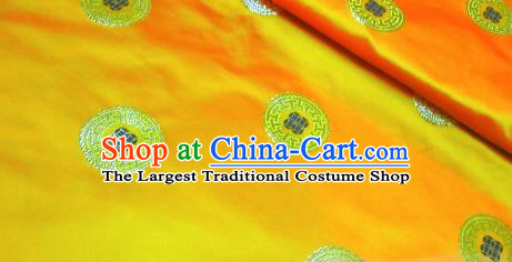 Traditional Chinese Royal Coins Pattern Golden Brocade Tang Suit Fabric Silk Fabric Asian Material