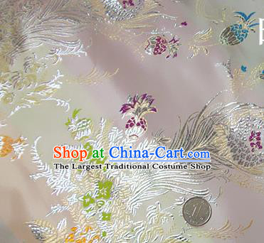 Traditional Chinese Royal Phoenix Flower Pattern White Brocade Tang Suit Fabric Silk Fabric Asian Material