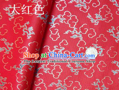 Traditional Chinese Royal Dragons Pattern Red Brocade Tang Suit Fabric Silk Fabric Asian Material